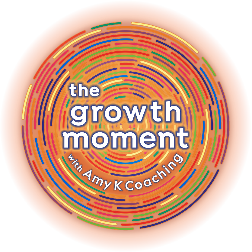 Logo for The Growth Moment Podcast with Amy K Coaching